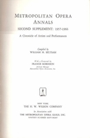 Metropolitan Opera Annals, Second Supplement  (Seltsam)