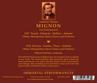 Mignon - TWO Performances  (Tourel, Stevens, Crooks, Tokatyan, Rothier)   (4-Immortal Performances IPCD 1061)