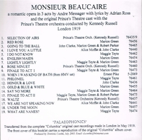 Monsieur Beaucaire  (Messager)  (Maggie Teyte, Marion Green)    (Palaeophonics 72)