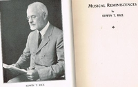 Musical Reminiscences    (Edwin T. Rice)     Friebele Press