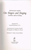On Singers & Singing  (Du Chant)  (Reynaldo Hahn)  (0-7470-1420-5)