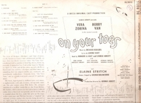 On Your Toes     (Decca DL 9015)    1954 Broadway Revival cast LP