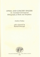 Opera and Concert Singers   (Andrew Farkas)  0-8240-9001-2