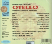 Otello  (1941 Performance)  (Panizza;  Giovanni Martinelli, Stella Roman, Lawrence Tibbett)  (2-Arkadia 2027)