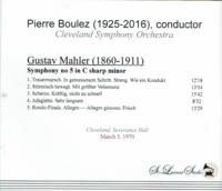 Pierre Boulez, Vol. X   -  Mahler #5       (St Laurent Studio YSL T-425)