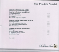Pro Arte Quartet, Vol. II     (St Laurent Studio YSL 78-046)