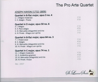 Pro Arte Quartet, Vol. IV     (St Laurent Studio YSL 78-048)