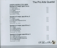 Pro Arte Quartet, Vol. IX      (St Laurent Studio YSL 78-196)