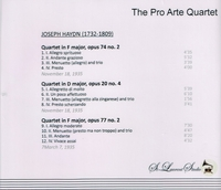 Pro Arte Quartet, Vol. VII    (St Laurent Studio YSL 78-115)