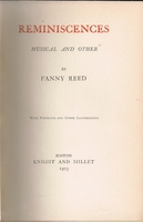 Reminiscenses  -  Musical and Other     (FANNY  REED)