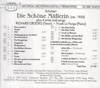 Richard Crooks   -   Die Schone Mullerin     (Claremont GSE 78-50-67)