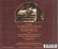 Romeo  (Cooper;  Bjorling, Sayao, Hayward, Gigli, Favero)  (2-Immortal Performances IPCD 1003)