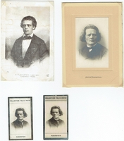 Rubinstein, Anton. 1 unsigned sepia mounted photo 2.25x3.5/4x5.75 / 1 unsigned BW portrait postcard, (170) A.N-Paris, 3.5x5.5 / 1 unsigned sepia photocard, Collection Félix Potin, 1.75x3