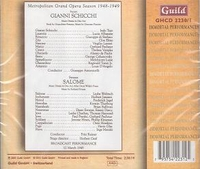Salome  (Reiner, Welitsch);  Gianni Schicchi  (Antonicelli;  Tajo, Albanese, Elmo) - TWO Operas   (2-Guild 2230/31)
