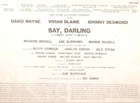 Say, Darling     (RCA mono LOC-1045)    Original Broadway cast LP