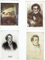 Schubert, Franz. 1 unsigned sepia mounted photo 2.25x3.5/4x5.75 / Full color illustrated postcard, GIlt trim, Cesare Bacchi (5928), 3.5x5.52 / 2 Illustrated sepia postcards - 1 sepia illustrated postcard, A.N-Paris (143), 1 unmarked, 3.5x5.5.