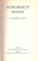 Schubert's Songs      (Richard Capell)