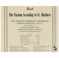 St Matthew Passion  - Serge Koussevitzky, Vol. VII  (3-St Laurent Studio YSL 78-387)