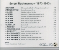 Sergei Rachmaninoff, Vol. IX         (St Laurent Studio YSL 78-256)