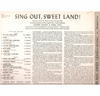 Sing Out, Sweet Land (Drake) (Decca DL 8023) Original Broadway LP