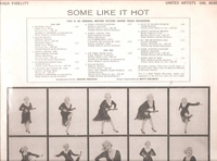 Some Like it Hot  (Monroe)   (United Artists UAL 4030)   Soundtrack LP