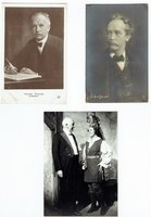 Strauss, Richard. 1 signed note with musical inscription, Mannheim June 1, 1927,  5.5x3.5 / 1 signed postcard, Garmisch, June 6, 1908, 5.5x3.5 / 1 unsigned BW photo postcard with Lotte Lehmann-Fidelio, Photo Ellinger, Salzburg, 3.5x5.5 / 1 sepia illustration postcard with postmark and stamp 3.5x5.5 / 1 unsigned photo postcard (351) A.N-Paris.