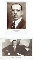 Stravinsky, Igor. 1 unsigned sepia photo postcard, Studio Lipnitzki-Paris, 1929. 5.5x3.5 / 1 unsigned photo postcard (219) GL. Manuel Frères-Paris, 5.5x3.75. 1 unsigned BW photo later period, 5.75x4