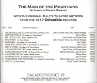 The Maid of the Mountains   (Jose Collins, Thorpe Bates)   (Palaeophonics 79)