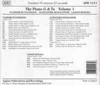 The Piano G & Ts, Vol. I - de Pachmann, Michalowski, Ronald    (Appian APR 5531)