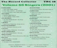 The Record Collector  -  2001         (TRC 18)