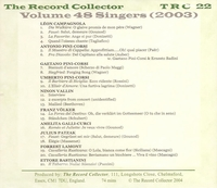 The Record Collector -  2003  (TRC 22)