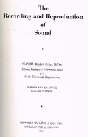 The Recording and Reproduction of Sound    (Oliver Read)