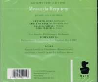 Verdi Requiem - (Mehta;  Corelli, Jones, Bumbry, Flagello)      (2-Myto 0015)