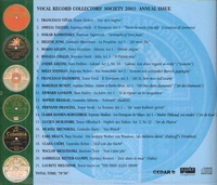 Vocal Record Collectors' Society - 2003 Issue         (VRCS 2003)