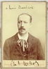 Widor, Charles Marie. 1 signed, sepia cabinet photo with hanging hook, Le Mon Banque-Paris 4.5x6.75 / 1 inscribed Carte de Visite,