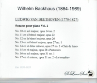 Wilhelm Backhaus, Vol. V - Beethoven   (2-St Laurent Studio YSL 33-158)