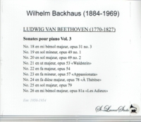 Wilhelm Backhaus, Vol. VI  -  Beethoven   (2-St Laurent Studio YSL 33-159)