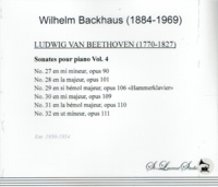 Wilhelm Backhaus, Vol. VII - Beethoven   (2-St Laurent Studio YSL 33-160)