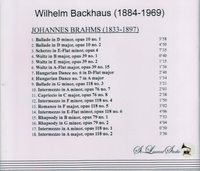 Wilhelm Backhaus, Vol. I  (Brahms)    (St Laurent Studio YSL 78-125)