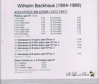 Wilhelm Backhaus, Vol. II  (Brahms)      ( St Laurent Studio YSL 78-126)