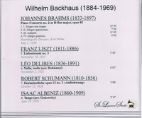 Wilhelm Backhaus, Vol. III       (St Laurent Studio YSL 78-127)