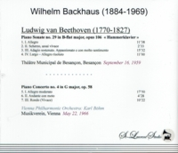 Wilhelm Backhaus, Vol. VIII  -  Beethoven    (St Laurent Studio YSL T-672)