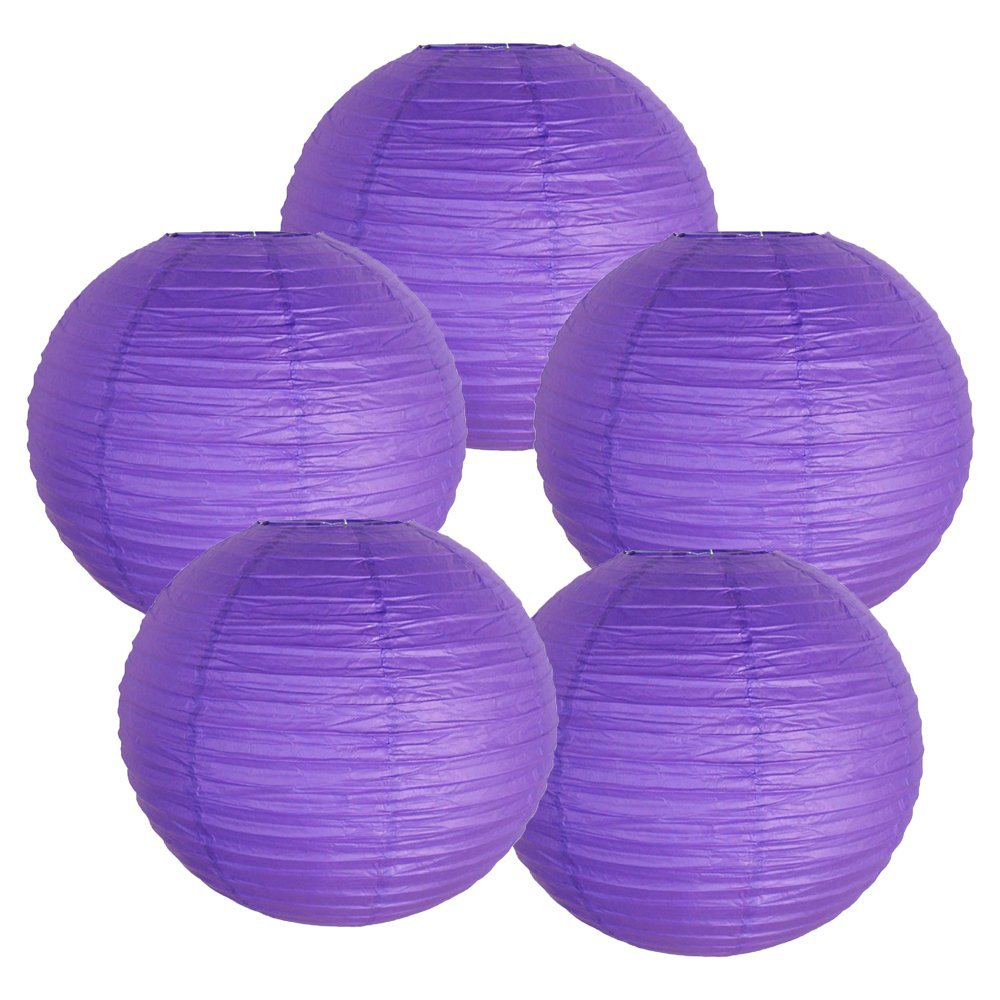 "10"" Royal Purple Chinese Paper Lanterns (Set of 5, 10-inch, Royal Purple)"
