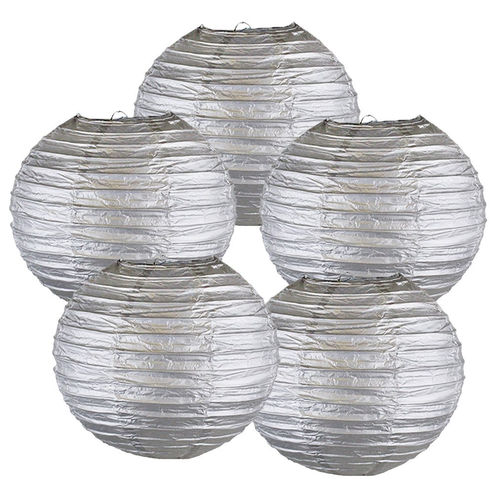 "10"" Silver Chinese Paper Lanterns (Set of 5, 10-inch, Silver)"