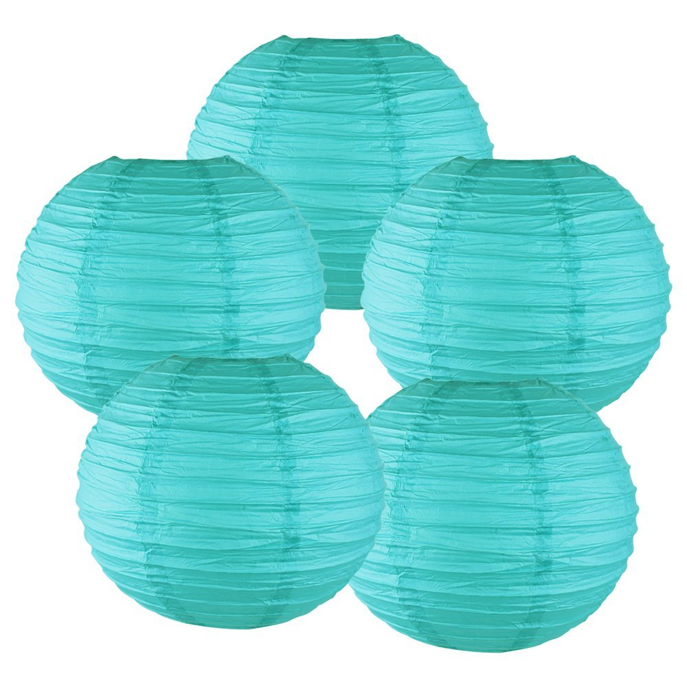 "10"" Turquoise Chinese Paper Lanterns (Set of 5, 10-inch, Turquoise)"