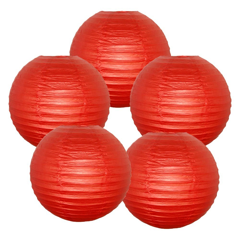 "12"" Dark Red Paper Lanterns (Set of 5, 12-inch, Dark Red)"