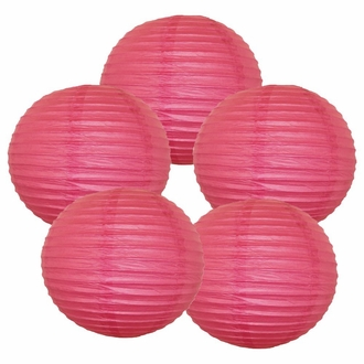 "12"" Flamingo Pink Chinese Paper Lanterns (Set of 5, 12-inch, Flamingo Pink)"