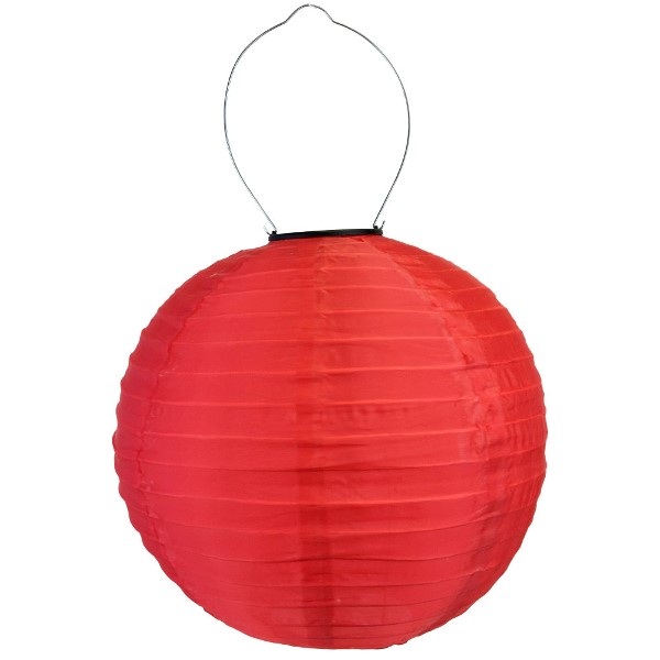 12 inch Solar LED Nylon Round Lantern Red