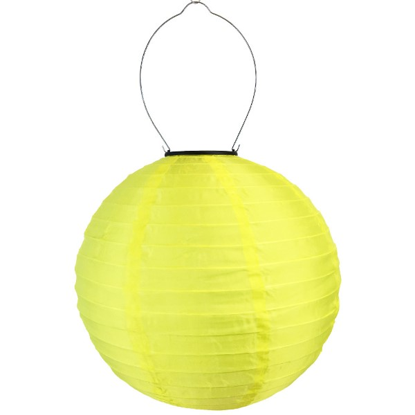 12 inch Solar LED Nylon Round Lantern Yellow