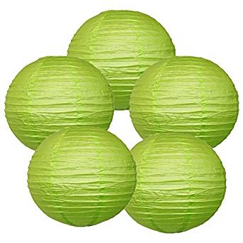 "12"" Light Green Chinese Paper Lanterns (Set of 5, 12-inch, Light Green)"